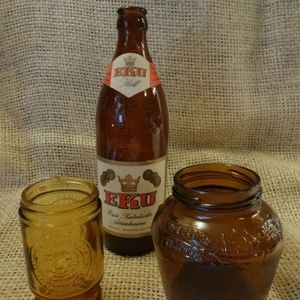 Vintage amber glass bottle jar lot of 3 boho decor